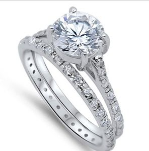 925 sterling silver engagement ring set